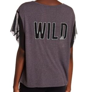 Free People Wild Graphic Print Mesh Tee Gray Small
